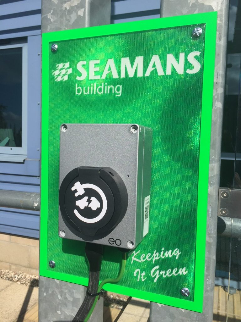 Electric charging station at Seamans Builders head office