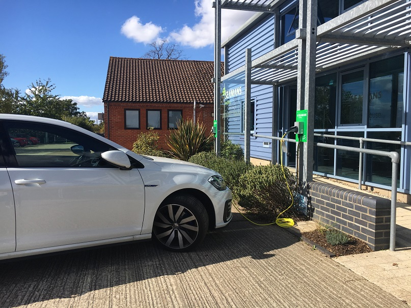 Electric charging point at Seamans Building head office